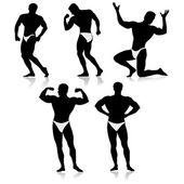 Bodybuilder silhouette.Vector — Stock Vector