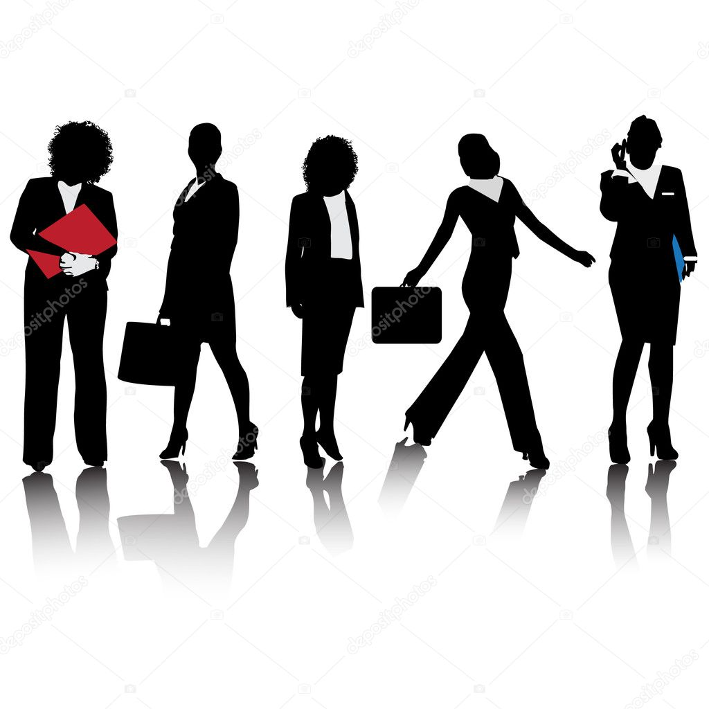 Business women Silhouettes Illustration  Stock Vector #5999785