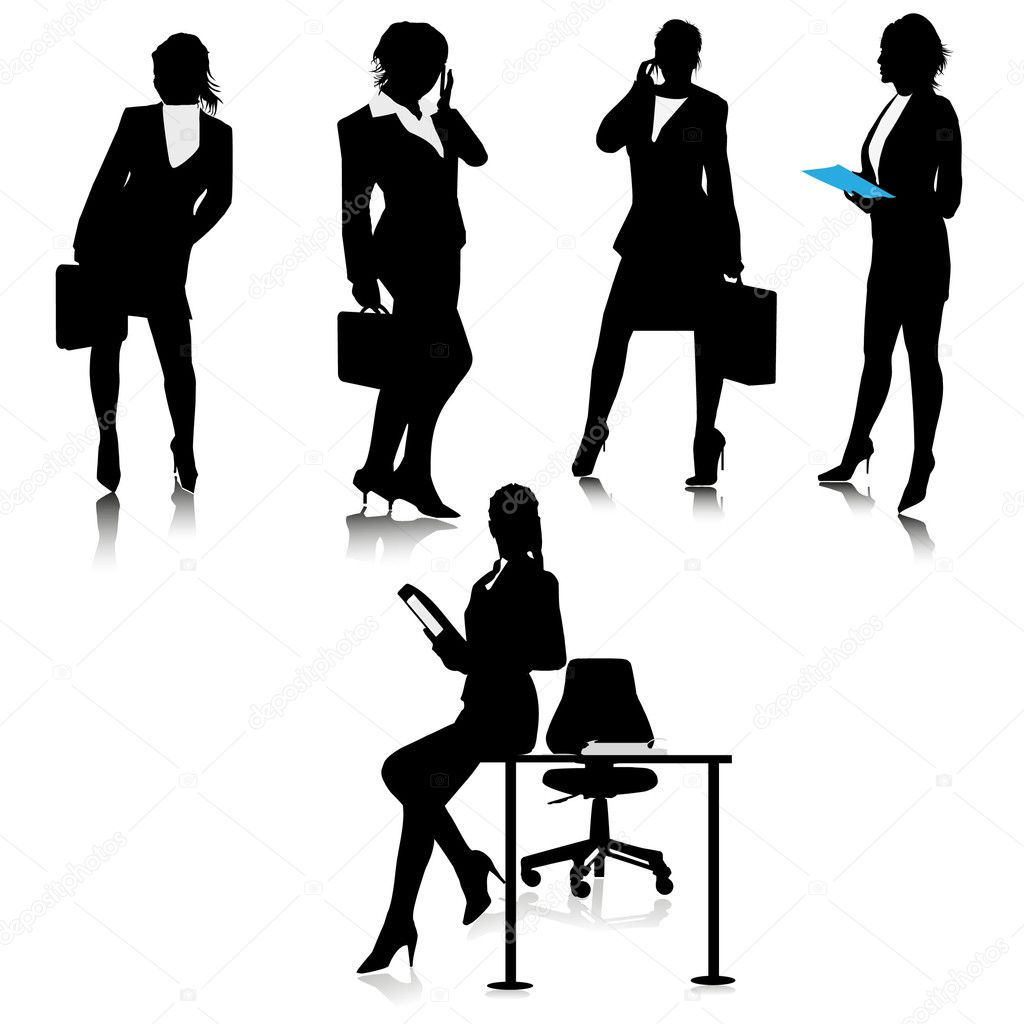 Office business lady silhouettes.Vector — Stock Vector ...