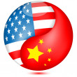 American and Chinese flag in the Globe.Vector - Stock Vector