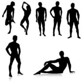 Nude Male silhouettes.Vector — Stockvektor