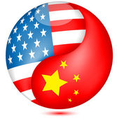 American and Chinese flag in the Globe.Vector — Stock Vector