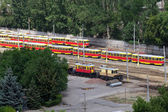 Old trams parking in the city — Foto Stock