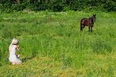 At ve kadın — Stok fotoğraf