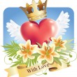 Royalty-Free Stock Vektorfiler: Heart with wings and lilies and a banner With love