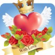 Vector de stock : Heart with wings and roses and banner With love