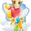 Vector de stock : I love you words with red heart with wings and crown