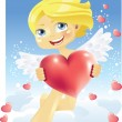 Cupid with heart — Stock Vector