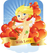 Cupid with love — Stock Vector