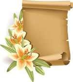 Greeting card with lilies and scroll - vertical — Stock Vector