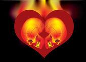 Heart skull fire — Stock Vector