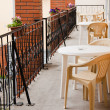 Stockfoto: Chairs in balcony of hotel room