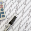 Calculator and Pen on Spreadsheet — Stockfoto #6315045