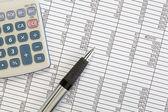 Calculadora y bolígrafo sobre la hoja de cálculo — Foto de Stock