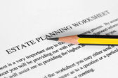 Estate planning worksheet — Stock Photo