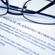 Estate planning worksheet - Stock Photo