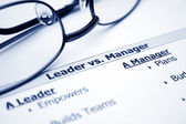 Leader vs. manager — Stock Photo