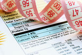 Nutrition facts and measure tape — Stock Photo