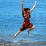 springen vor Freude — Stockfoto