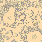 Decorative apple and pear pattern — Stockvector