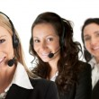 Cheerfull call center operators — Stock Photo