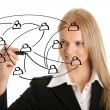 Businesswoman drawing a social network graph — Stock Photo #6310128