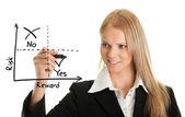 Zakenvrouw tekening van een risico-beloning-diagram — Stockfoto