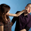 Women punching men — Stock Photo
