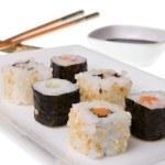 Mix of california rolls and makizushi — Stock Photo