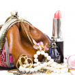 The handwork does bag and  jewelry - Stock Photo