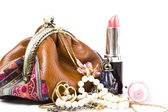 The handwork does bag and jewelry — Stock Photo