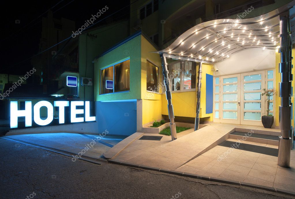 Entrance of a hotel, modern metal design.  — Stock Photo #6729350