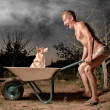 Crazy man and his dog - Stockfoto