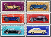 Stamps: old Russian cars, set — Stock Photo