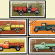 Stamps old Russian truck, set - Stock Photo