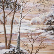 Landscape on a birch bark - ストック写真