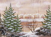 Landscape on a birch bark — Stock Photo
