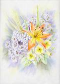 Water-colour, summer bouquet wit — Stock Photo