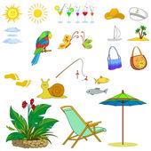 Objects represent summer — Vector de stock