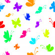 Background, silhouettes various colorful butterflies — Stock Photo