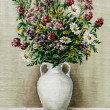 Stock Photo: Wild flowers in white amphora