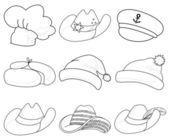 Hats, set contours — Stock Vector