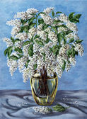 Bird cherry in a glass vase — Stock Photo