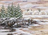 Natürliche winterlandschaft — Stockfoto