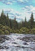 Landscape, mountain river — Stock Photo