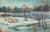 Paesaggio, fiume d'inverno — Foto Stock