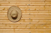 Straw hat on wall — Stock Photo