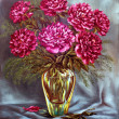 Peonies in a glass vase — Foto de Stock