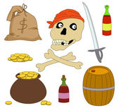 Jolly Roger and set of piracy objects — Stock Photo