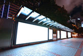 Blank billboard at night — 图库照片